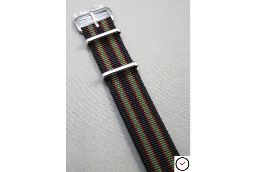 Bracelet nylon NATO Bond Original (Noir Vert-Kaki Rouge)