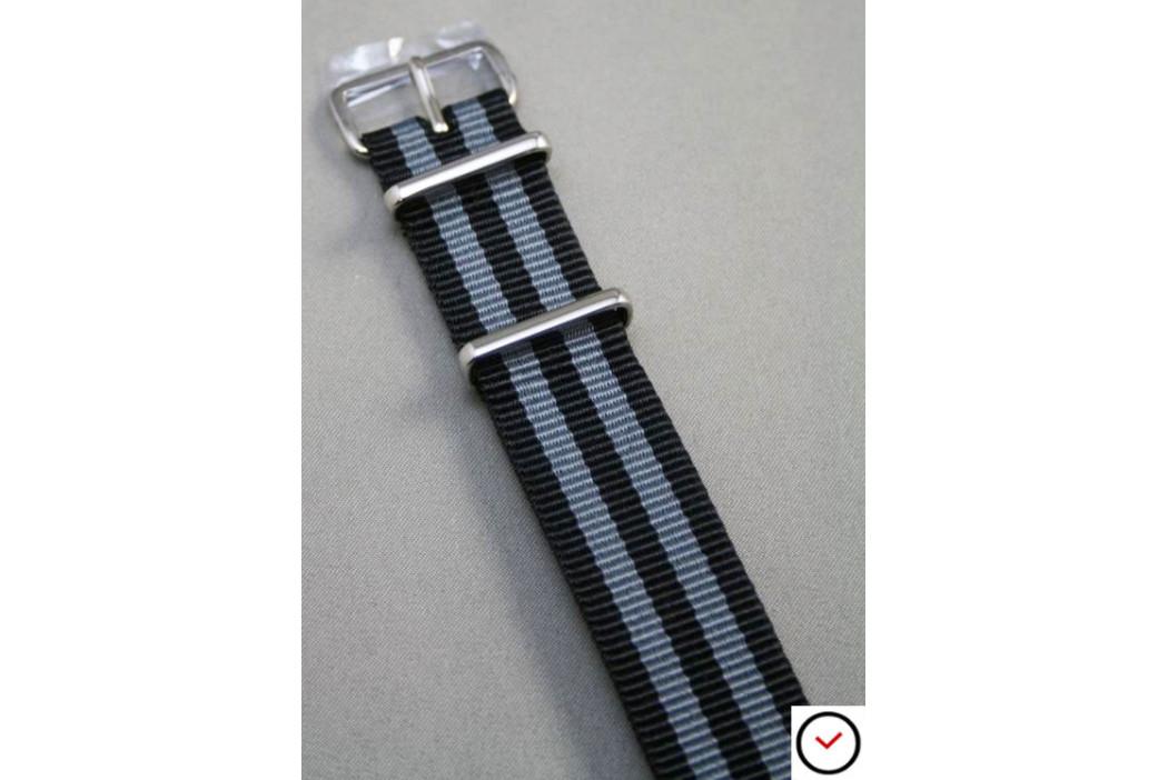 Bracelet nylon NATO Bond Craig (Noir Gris)