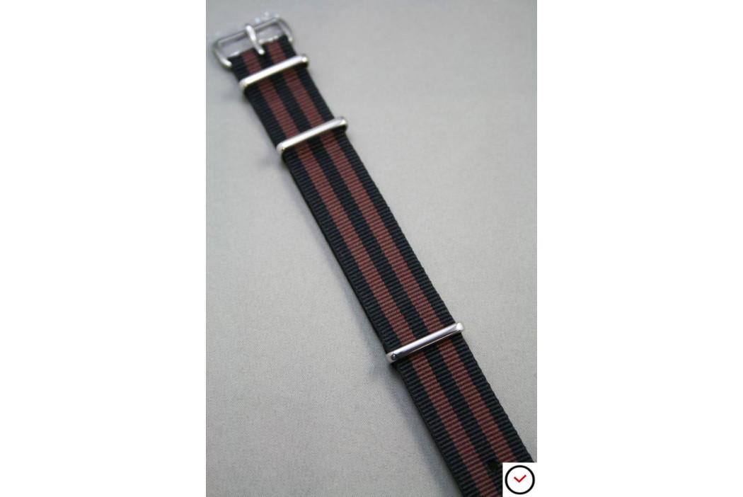 Bracelet nylon NATO Bond Noir Marron Chocolat
