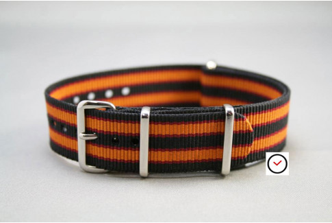 Bracelet nylon NATO Bond Noir Orange liserés Rouge