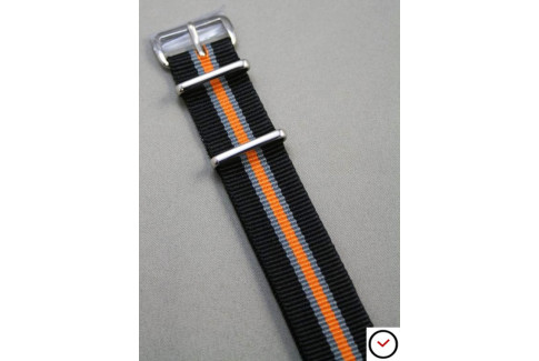 Bracelet nylon NATO Héritage Noir Gris Orange