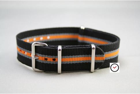 Black Grey Orange Heritage G10 NATO strap (nylon)