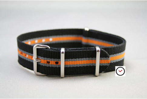 Black Grey Orange Heritage G10 NATO strap (nylon)