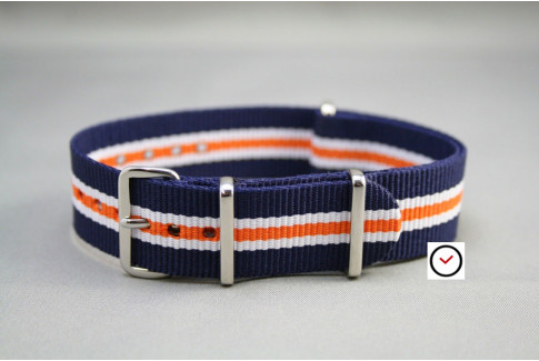 Blue White Orange Heritage G10 NATO strap (nylon)