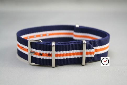 Bracelet nylon NATO Héritage Bleu Navy Blanc Orange