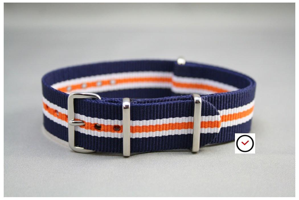 Blue White Orange Heritage G10 NATO strap (nylon)