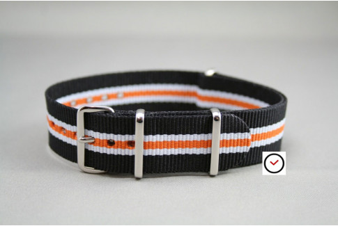 Black White Orange Heritage G10 NATO strap (nylon)