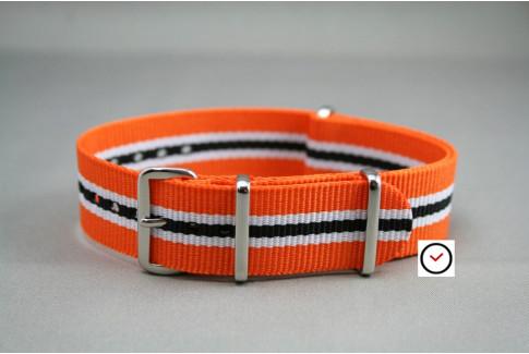 Bracelet nylon NATO Héritage Orange Blanc Noir