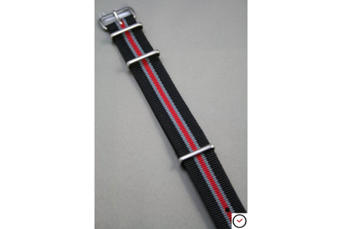 Bracelet nylon NATO Héritage Noir Gris Rouge