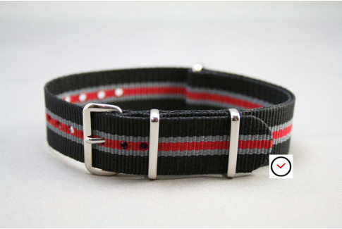 Black Grey Red Heritage G10 NATO strap (nylon)