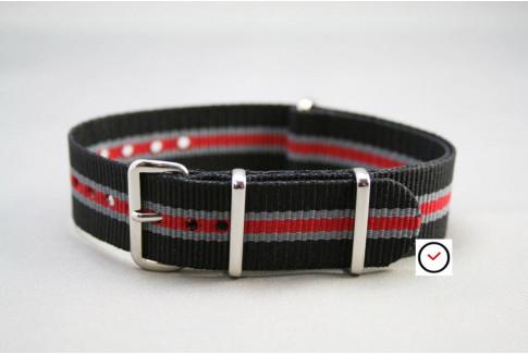 Black Grey Red Heritage G10 NATO strap (nylon)