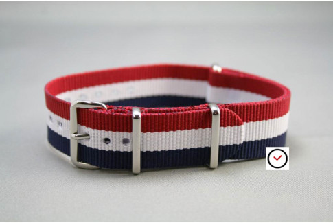 Blue White Red (French flag) G10 NATO strap (nylon)