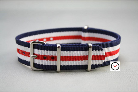 Double Blue White Red G10 NATO strap (nylon)