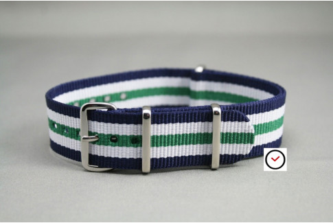 Navy Blue White Green NATO watch strap (nylon)