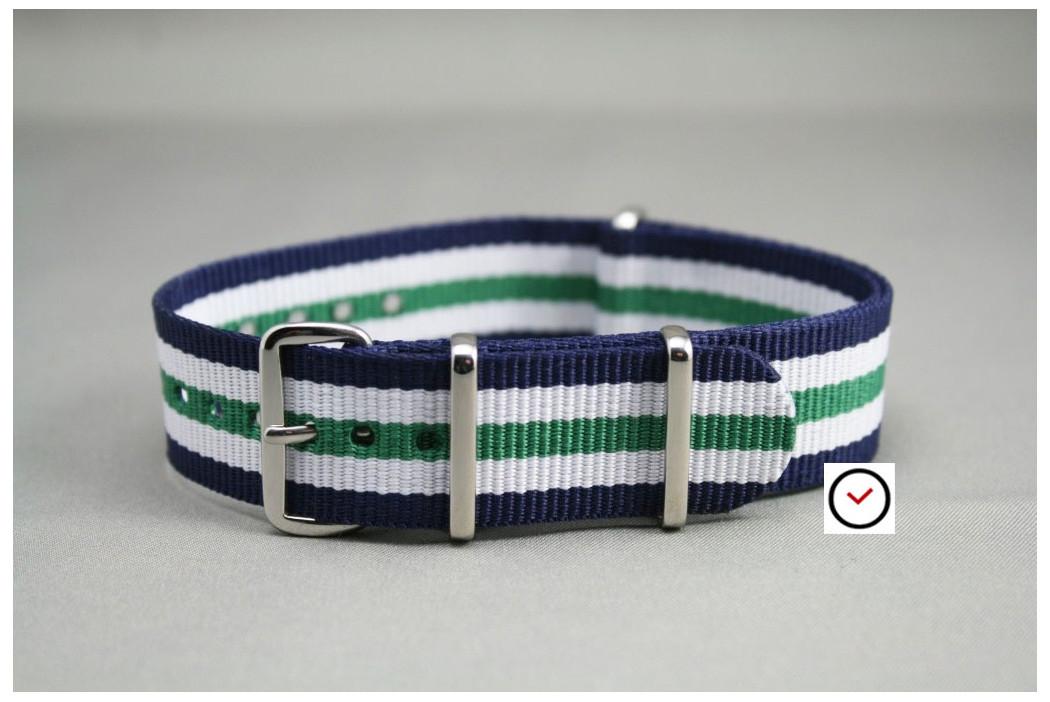 Navy Blue White Green NATO watch strap (nylon)