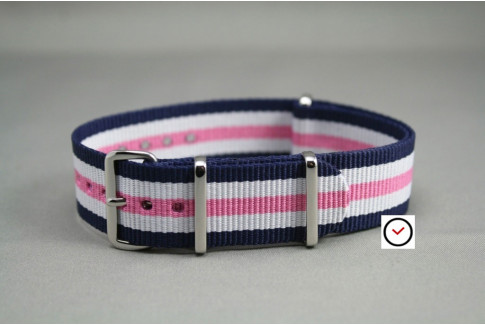 Navy Blue White Pink NATO watch strap (nylon)