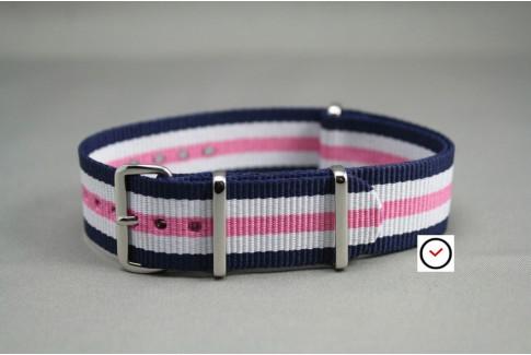 Navy Blue White Pink NATO watch strap (nylon)