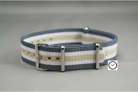 Grey White Sandy Beige NATO watch strap (nylon)