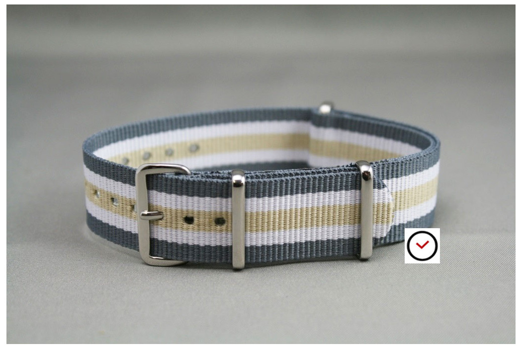 Bracelet nylon NATO Gris Blanc Beige Sable