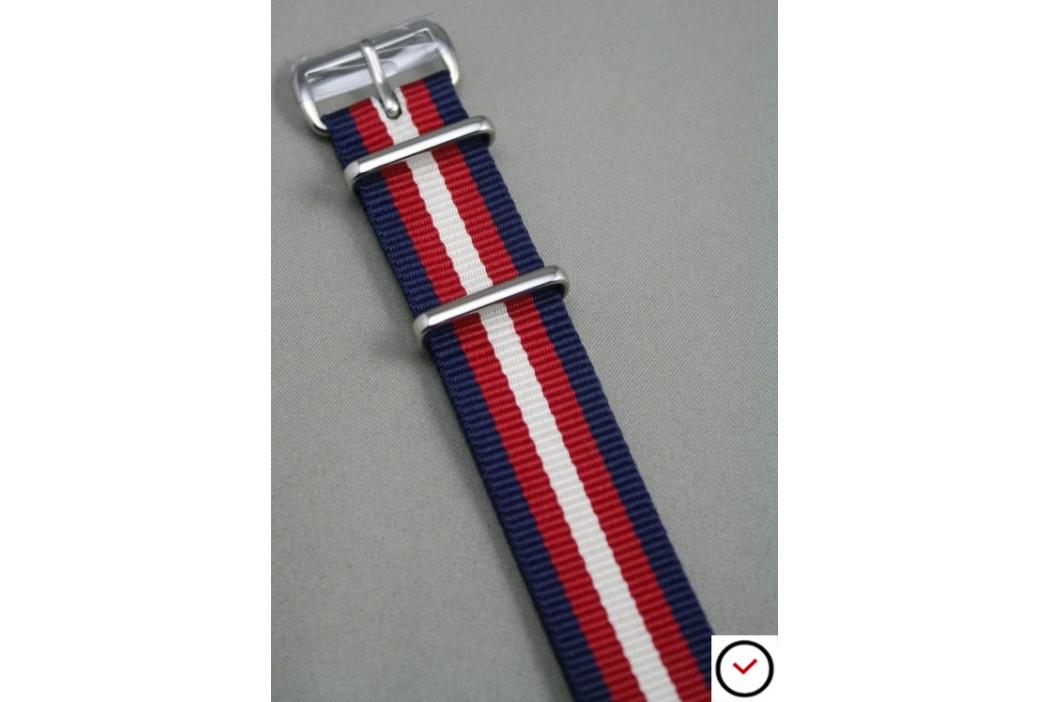 Bracelet nylon NATO Bleu Navy Rouge Blanc écru