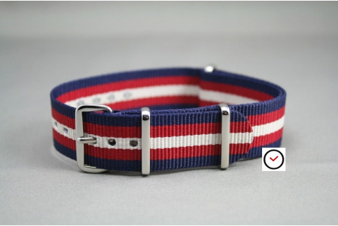 Navy Blue Red Off-White NATO watch strap (nylon)
