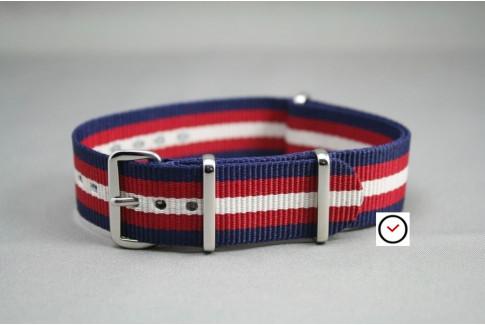 Navy Blue Red Off-White NATO watch strap (nylon)