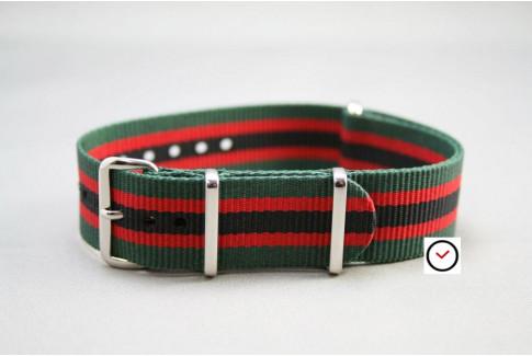 Bracelet nylon NATO Vert Rouge Noir
