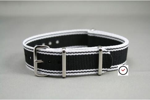 Bracelet montres NATO en nylon, modèle Noir Blanc