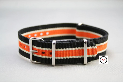 Bracelet nylon NATO Noir Blanc Orange