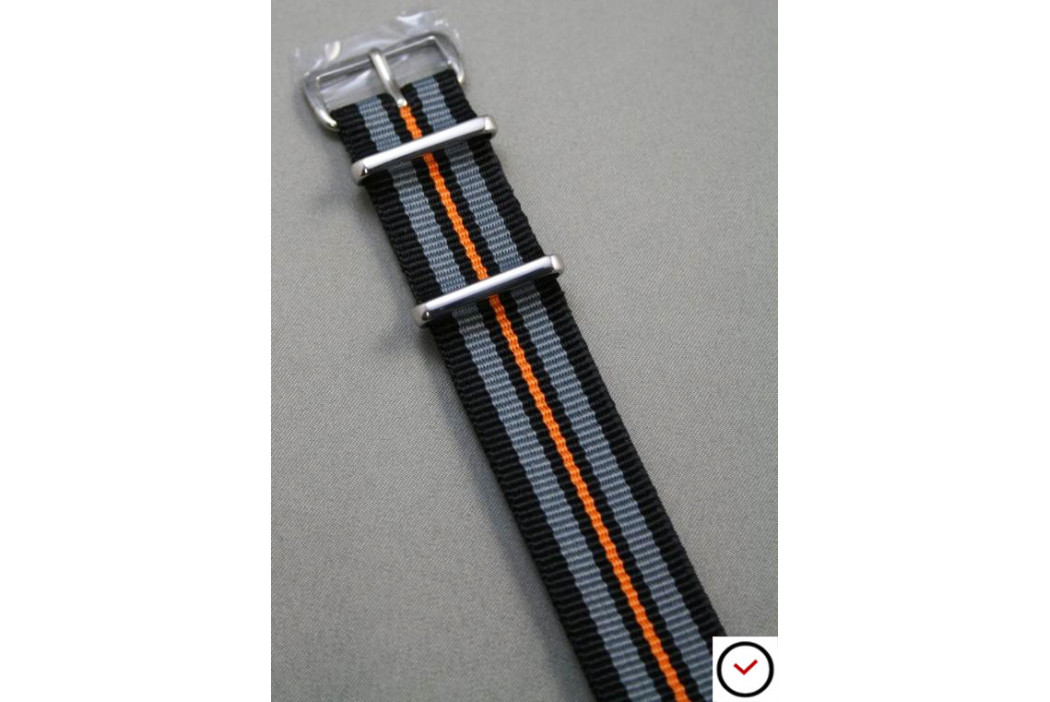 Bracelet nylon NATO Noir Gris Orange