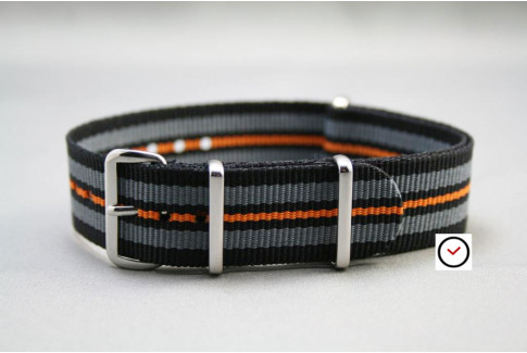 Black Grey Orange G10 NATO strap (nylon)