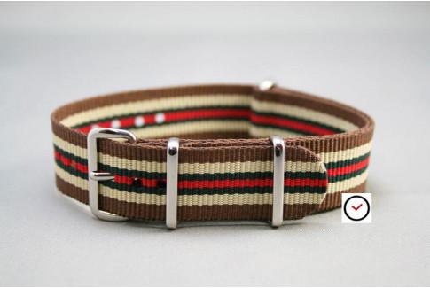 Bracelet nylon NATO Marron Sable Vert Rouge