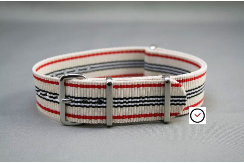 White Red Black G10 NATO strap (nylon)