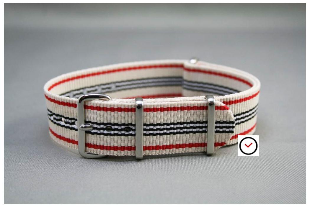 Bracelet nylon NATO Blanc Rouge Noir