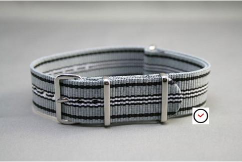 Bracelet nylon NATO Gris Noir Blanc