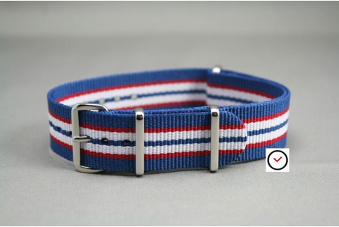 Blue Red White NATO watch strap (nylon)