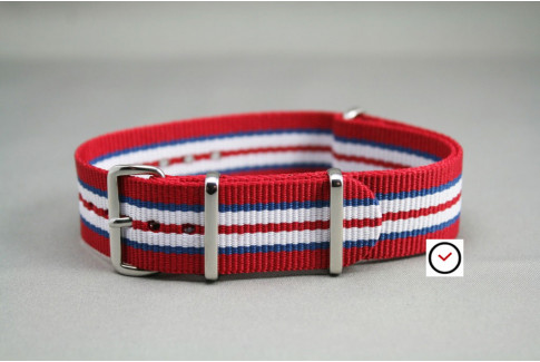 Red Blue White NATO watch strap (nylon)