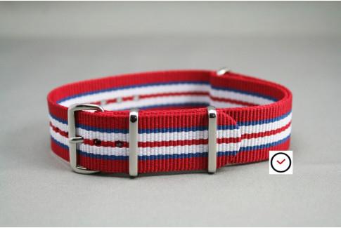 Red Blue White NATO watch strap (nylon)