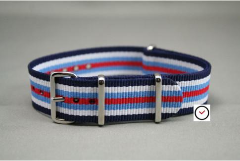 Bracelet nylon NATO Bleu Navy Blanc Bleu Clair Rouge