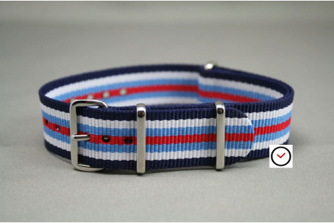 Navy Blue White Light Blue Red G10 NATO strap (nylon)
