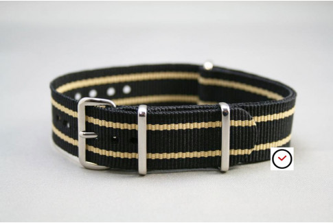 Black Sandy Beige borders G10 NATO strap (nylon)