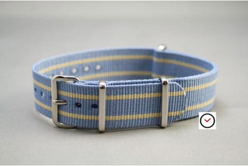 Bracelet nylon NATO Bleu Ciel liserés Sable