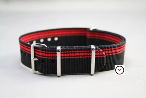 Black Red Ducati G10 NATO strap (nylon)