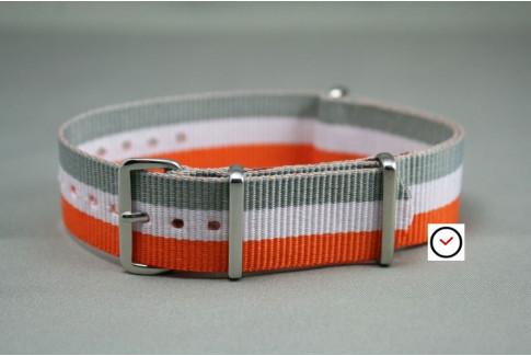 Bracelet nylon NATO Orange Blanc Gris