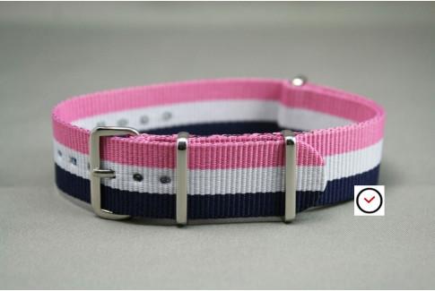 Bracelet nylon NATO Bleu Blanc Rose