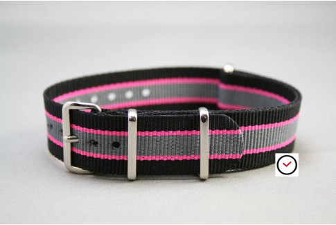 Black Pink Grey G10 NATO strap (nylon)