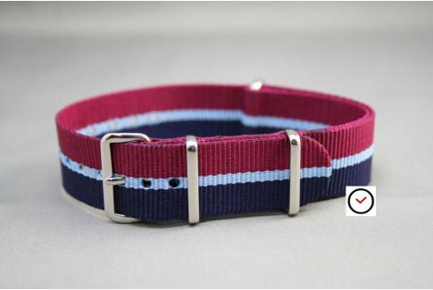 Bracelet nylon NATO Bleu Navy Bordeaux liseré Bleu Ciel