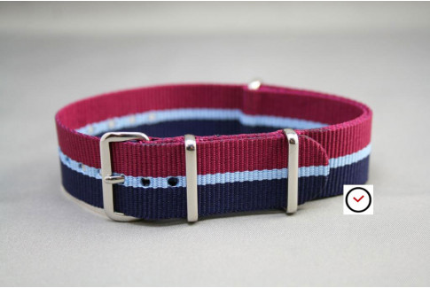 Navy Blue Burgundy Red with Sky Blue border G10 NATO strap (nylon)