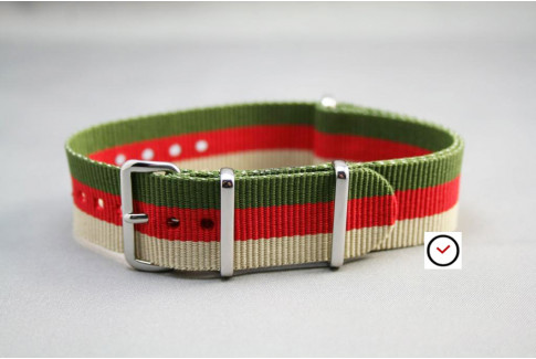 Sandy Beige Red Military Green G10 NATO strap (nylon)