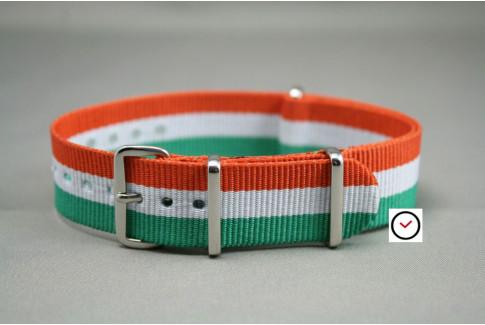 Bracelet nylon NATO Vert Blanc Orange